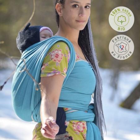Echarpe de portage Neobulle Bleu Denim, Coton Bio